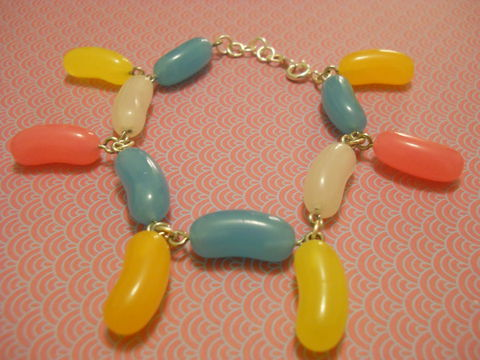 Jelly,Bean,Candy,Bracelet,Candy coloured plastic Jelly Bean shapes on bracelet in dangly pattern. colourful multi-coloured funky