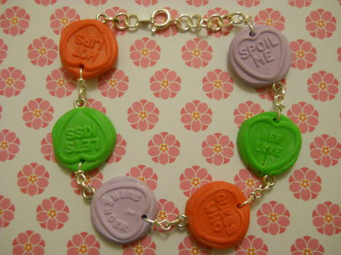 Love,Heart,Candy,Bracelet,Candy coloured plastic Love Heart shapes with love messages on bracelet. colourful multi-coloured funky