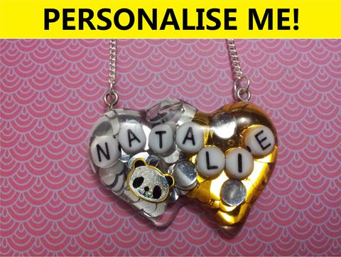 Personalised,Double,Whammy,Heart,Necklace,personalised jewellery, kawaii jewellery, customised jewellery, personalised necklace, heart necklace, double whammy necklace, harajuku boutique necklace, harajuku boutique, name necklace, design your own jewellery