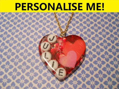 Personalised,Love,Heart,Necklace,personalised jewellery, kawaii jewellery, customised jewellery, personalised necklace, heart necklace, double whammy necklace, harajuku boutique necklace, harajuku boutique, name necklace, design your own jewellery