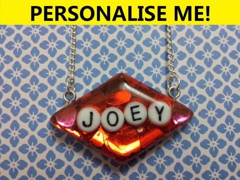 Personalised,Smooth,Diamond,Necklace,personalised jewellery, kawaii jewellery, customised jewellery, personalised necklace, heart necklace, double whammy necklace, harajuku boutique necklace, harajuku boutique, name necklace, design your own jewellery