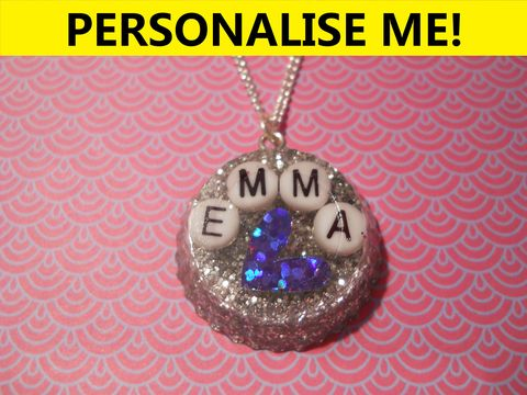 Personalised,Circle,Necklace,personalised jewellery, kawaii jewellery, customised jewellery, personalised necklace, heart necklace, double whammy necklace, harajuku boutique necklace, harajuku boutique, name necklace, design your own jewellery