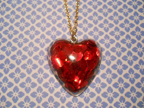 Red,LoveHeart,Necklace,Super kawaii love shiny heart shaped resin filled with pink and red glitter pendant silver gold necklace chain cute pendant