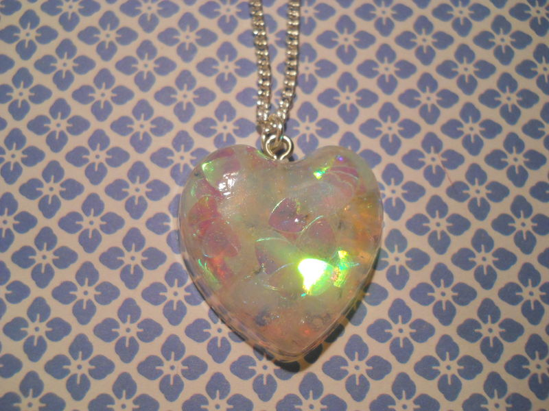 Translucent Green/White/Pink LoveHeart Necklace - product images  of