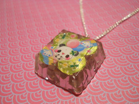 SUPER,Sparkly,Square,Panda,Star,Necklace,Unbelievably sparkly and eye-catching square resin necklace pendant filled with super sparkly silver star confetti glitter and featuring a kawaii panda image.  pendant silver gold necklace chain cute pendant