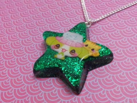 Super,Shiny,Emerald,Green,Glitter,Star,Kawaii,Rabbit,Necklace,Super shiny star-shaped resin necklace pendant filled with ultra sparkly emerald green glitter and also featuring a cute kawaii rabbit image. pendant silver gold necklace chain cute pendant