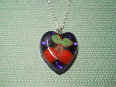 Deep,Purple,Glitter,Red,Cherry,Sweetheart,Necklace,Sweetheart-shaped resin necklace pendant filled with chunky deep purple glitter and also featuring a cute red cherry kawaii charm.  pendant silver gold necklace chain cute pendant