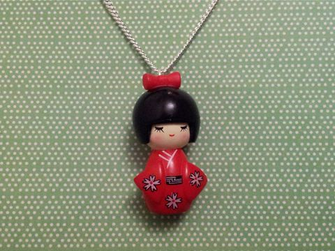 Red,Kimono,Girl,Necklace,kawaii harajuku red geisha russian doll dolly kimono japanese silver gold necklace chain cute pendant