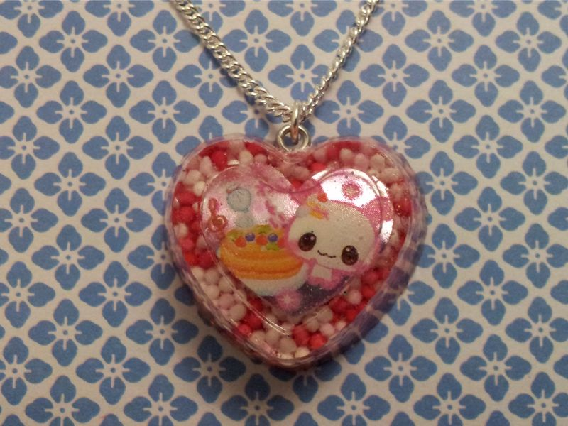 Pink 100s and 1000s Rabbit Cupcake Heart Necklace - product images  of