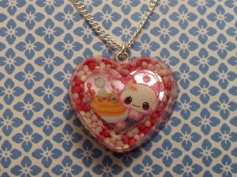 Pink,100s,and,1000s,Rabbit,Cupcake,Heart,Necklace,Super kawaii cupcake heart-shaped resin filled with red, pink and white 100s and 1000s with a cute kawaii rabbit and cakes on a necklace. pendant silver gold necklace chain cute pendant