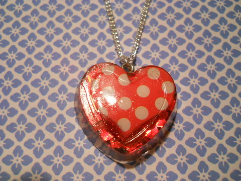 Red,Polka,Dot,LoveHeart,Cupcake,Heart,Necklace,Super kawaii cupcake heart-shaped resin pendant filled with ultra shiny red heart-shaped confetti glitter with a cute polka dot heart. pendant silver gold necklace chain cute pendant