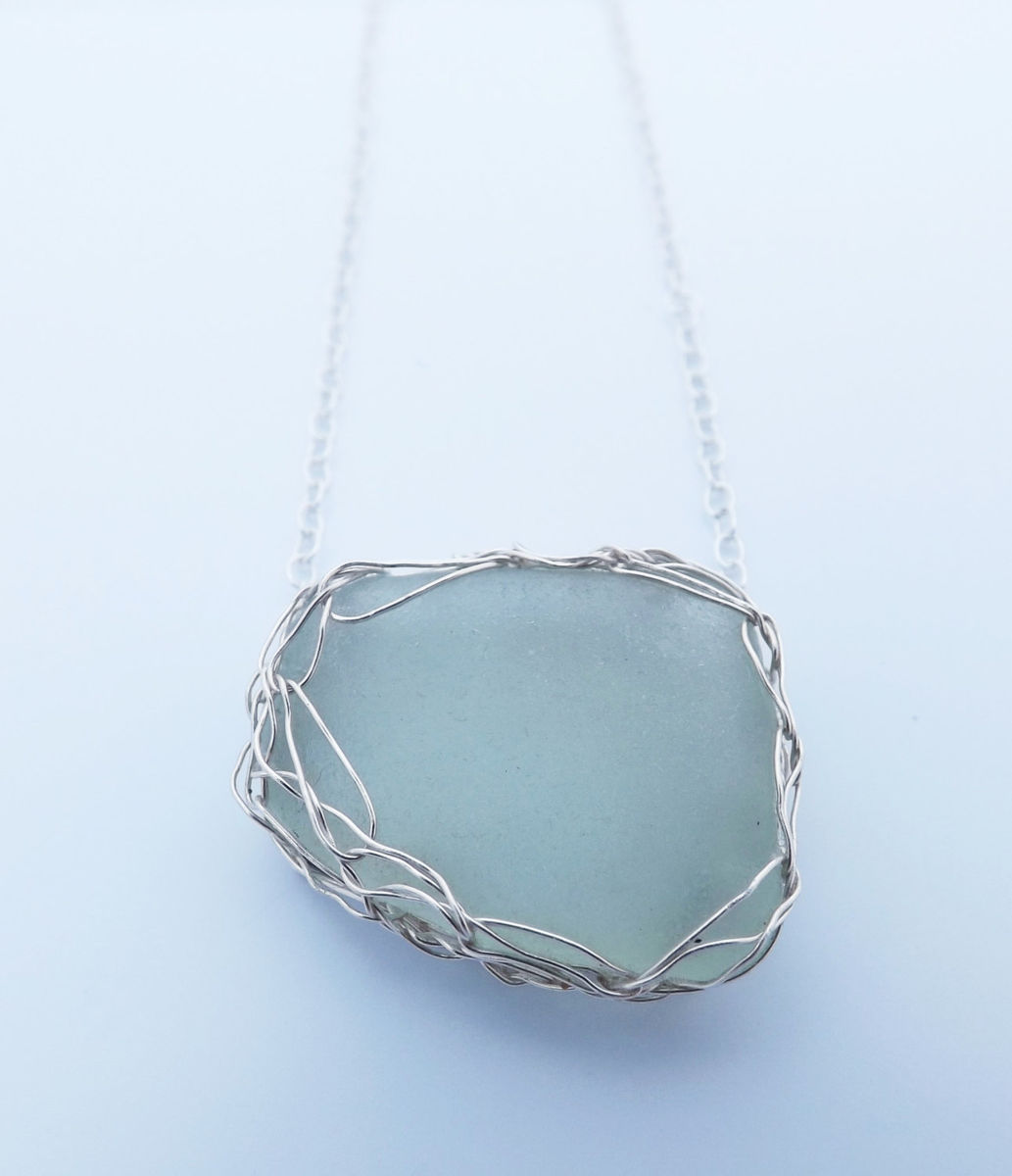 silver crochet sea-glass pendant - product image