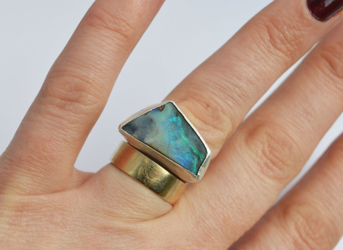 boulder opal angular ring - product images  of