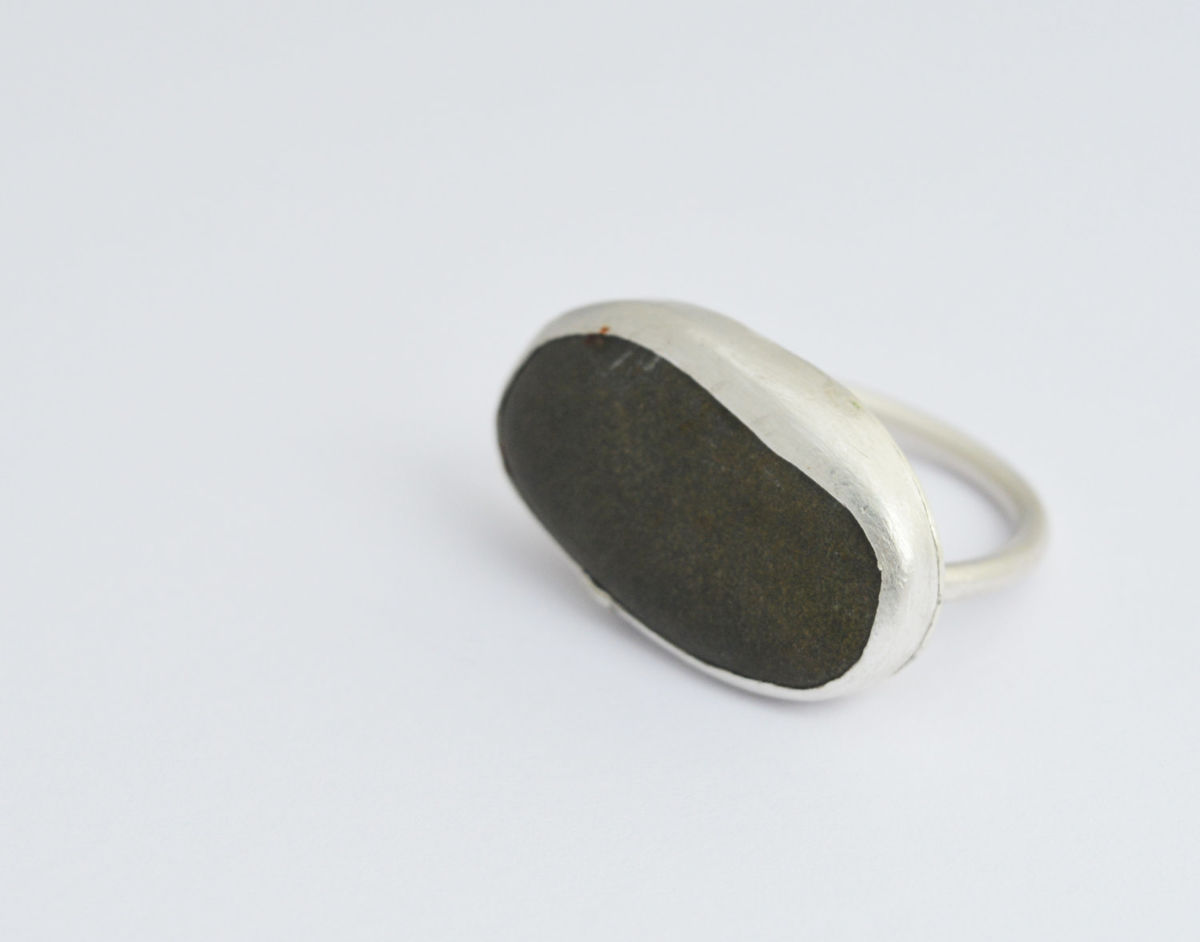 slate pebble silver ring - product image