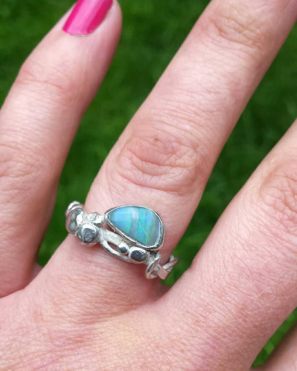 boulder opal branch ring - product images  of