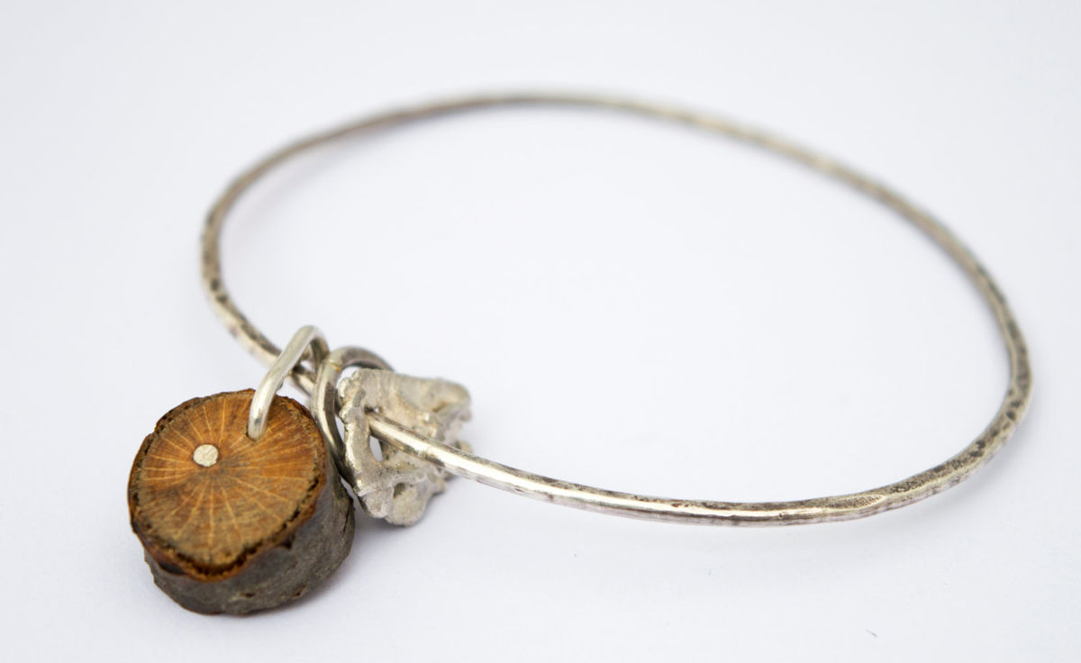 twig charm silver bangle - product image