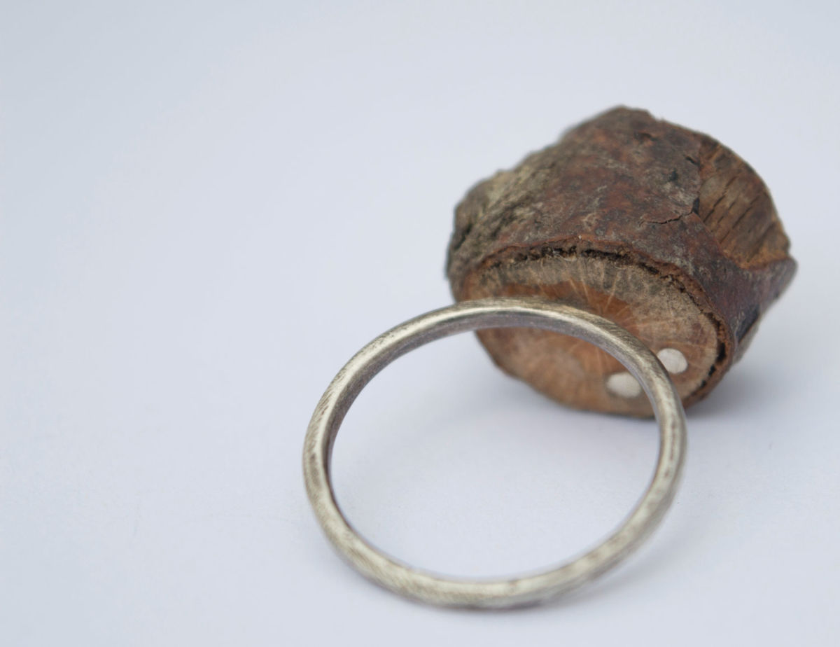 wooden ring/twig ring/silver ring/eco-silver ring - product images  of