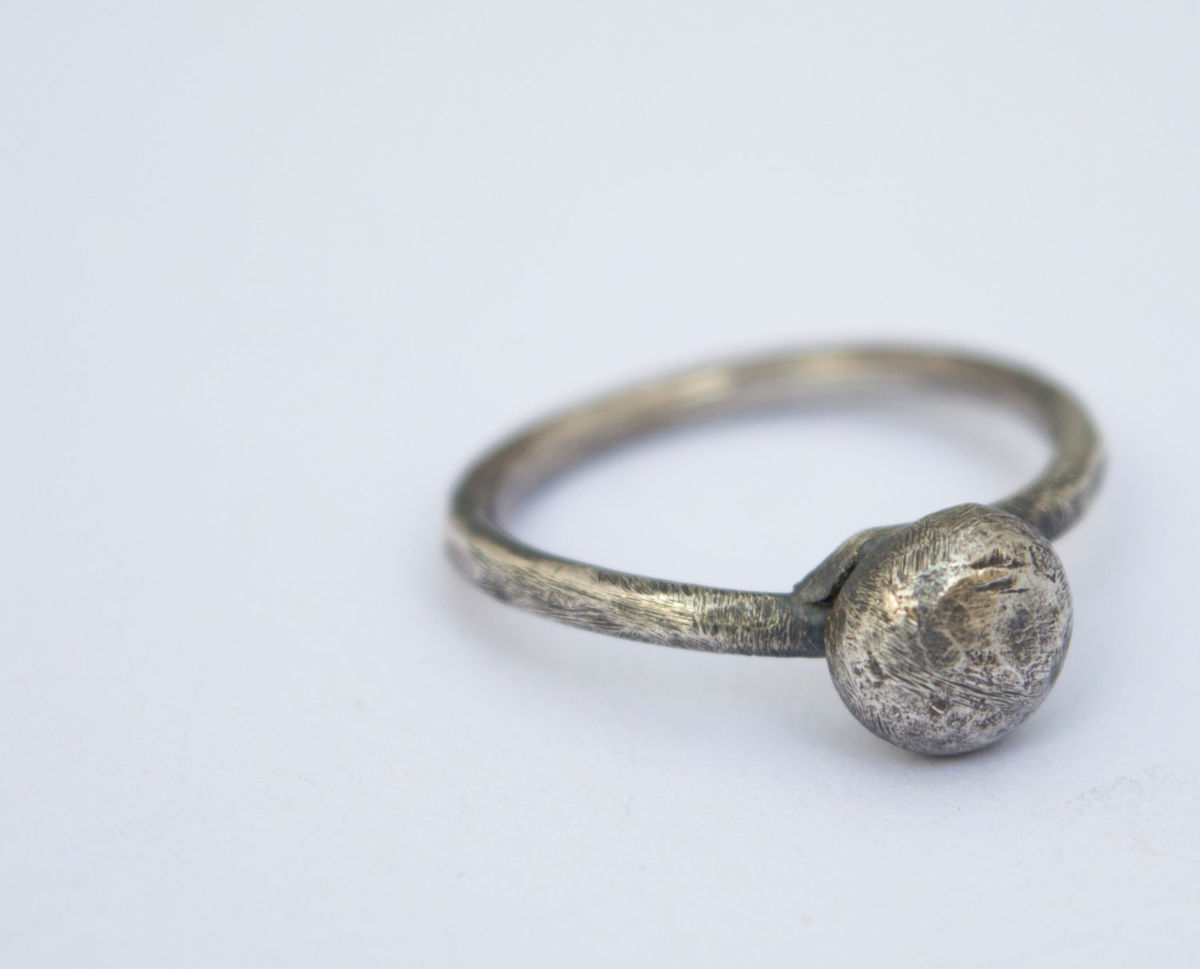 fused silver moon ring - product image