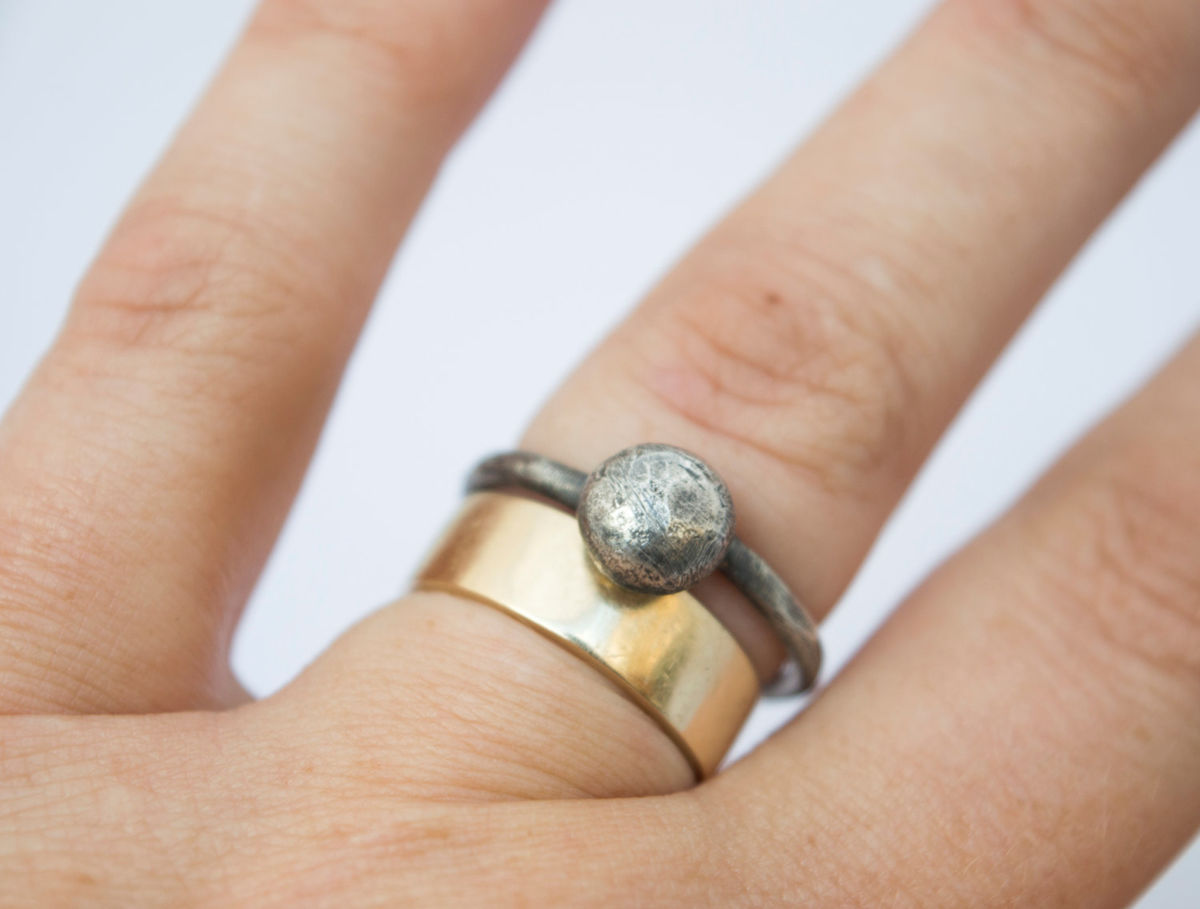 fused silver moon ring - product images  of