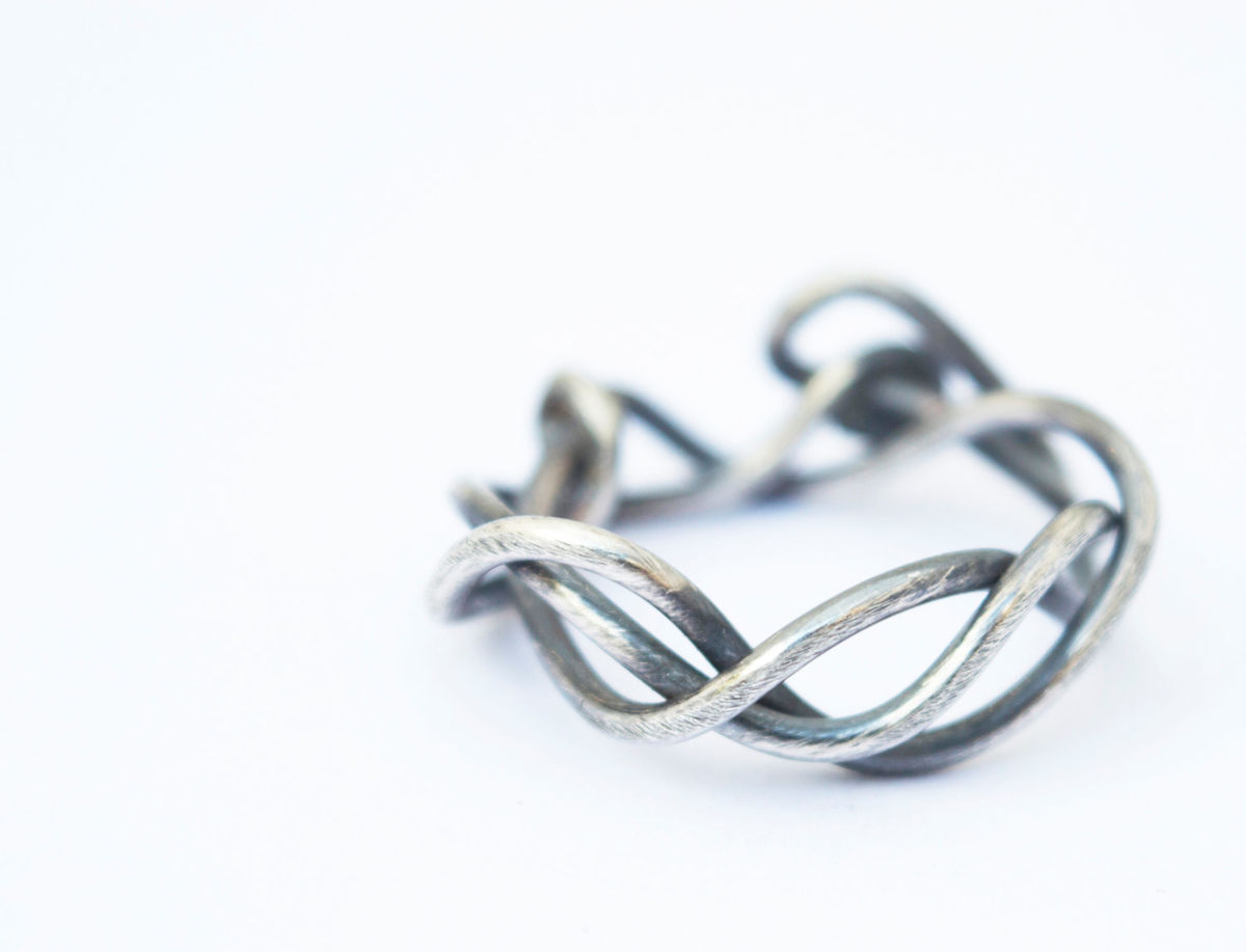woven silver branch ring - product image