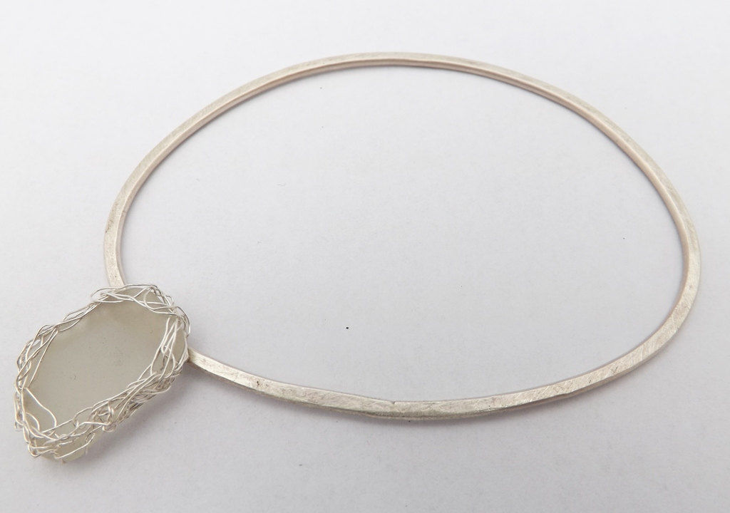 silver sea-glass bangle - product images  of