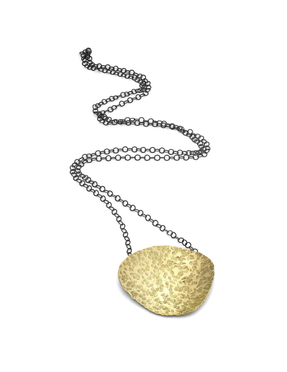 large brass pebble necklace - product image