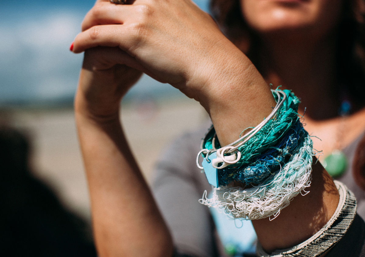 recycled silver and sea-string bangle - product images  of
