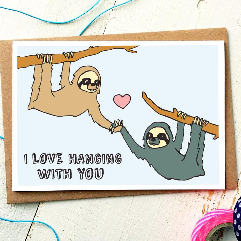 cute love card sloth card girlfriend card boyfriend card anniversary card