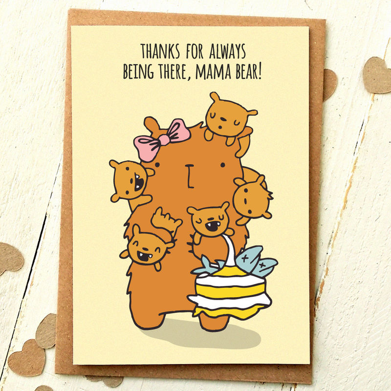 mum birthday card mum card mom card mom birthday card thank you mom thank you mum mama bear cute birthday card finch and the fallow