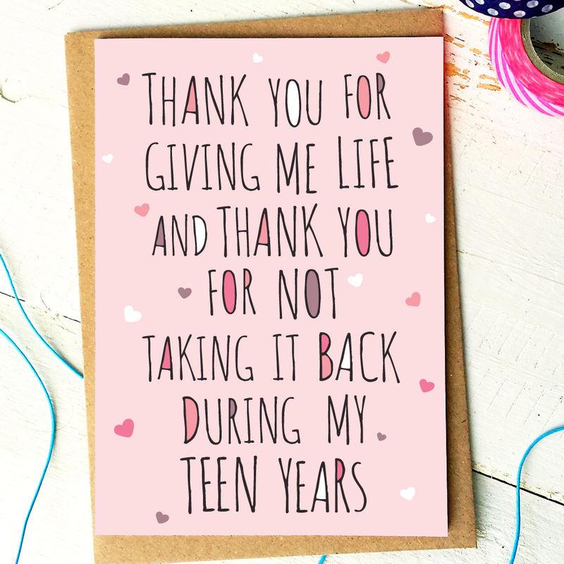 Mum Birthday Card Mum Card Mom Card Thank You Mum Thank – Birthday Cards for Mom Funny
