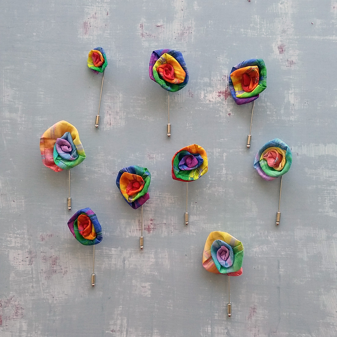 Handmade rainbow flower lapel pin set