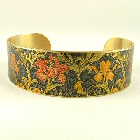 William,Morris,Iris,Cuff,Jewelry,Bracelet,william morris_jewelry,pretty,botanical_print,blue,green,gold,plants,flowers,tropical,brass_cuff,jezebel_charms,gardening_jewelry,floral_bracelet,brass,art,handmade,decoupage,paper,metal,illustration