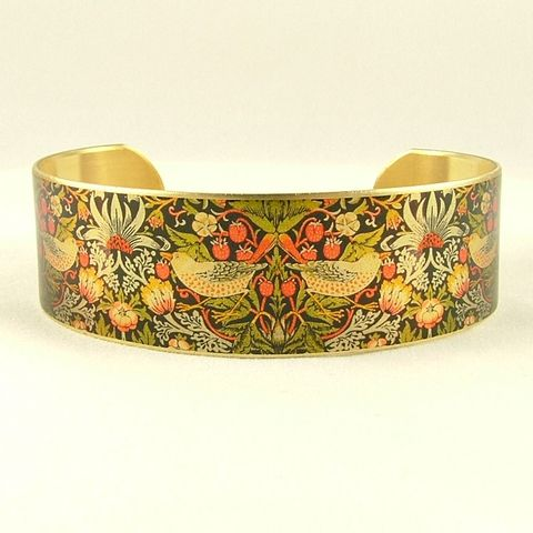 William,Morris,Strawberry,Thief,Cuff,Jewelry,Bracelet,william morris_jewelry,pretty,botanical_print,blue,green,gold,plants,flowers,tropical,brass_cuff,jezebel_charms,gardening_jewelry,floral_bracelet,brass,art,handmade,decoupage,paper,metal,illustration