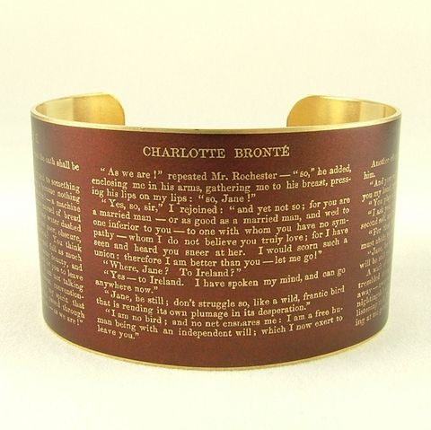 Jane,Eyre,by,Charlotte,Bronte,Cuff,Jewelry,Bracelet,Jane_Eyre,Charlotte_Bronte,literary_bracelet,Gothic_book,romantic,english_literature,book_jewelry,writer,quote,red,literary,russet_red,independence,brass,art,decoupage,handmade,paper,book,metal,cuff,bangle,words,jane_eyre_novel