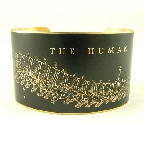 Human,Spine,Cuff,Jewelry,Bracelet,cuff_bracelet,biology,skeleton,doctor,xray,black,jezebelcharms,hospital,human_body,gifts_for_doctor,bone_bones,anatomy_anatomical,medical,handmade,brass,decoupage,art,paper,illustration,medical_drawing