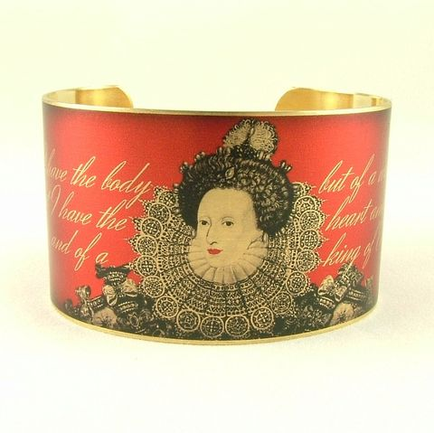 Queen,Elizabeth,I,of,England,Cuff,Jewelry,Bracelet,victorian_steampunk,heraldic_history,cuff_bracelet,royal_queen_victoria,london_england,royal_shield,union_jack_flag,garnet_red,royal_jewelry,crown_jewels,medieval_history,british_history,queen_jubilee,brass,handmade,decoupage,art,pap