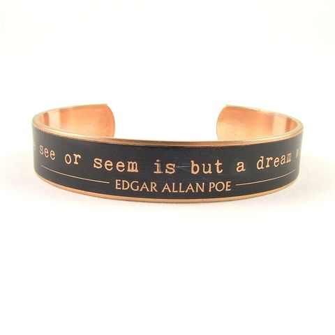 Poe's,Dream,Within,A,Skinny,Cuff,Jewelry,Bracelet,literature,supernatural,edgar_allan_poe,poe_jewelry,the_raven,nevermore_poem,macabre_horror,gothic,literary_quote_cuff,dark_and_morbid,black_and_gold,jezebel_charms,edgar_allen_poe,brass,handmade,decoupage,art,paper,poem,quote,words