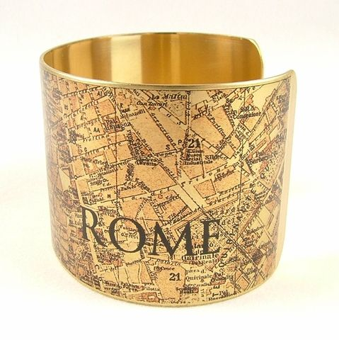 Vintage,Rome,Street,Map,Cuff,Jewelry,Bracelet,,steampunk_cuff,love_italy rome,map_jewelry,vintage_map,river_tiber,turquoise_blue,traveller_travel,railroads,roads_streets,street map rome, cartography,brass,handmade,decoupage,art,paper,vintag