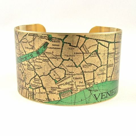Vintage,Venice,Street,Map,Cuff,Jewelry,Bracelet,,steampunk_cuff,love_italy rome,map_jewelry,vintage_map,venice, ventian, italy,turquoise_blue,traveller_travel,railroads,roads_streets,street map rome, cartography,brass,handmade,decoupage,art,paper,vintag