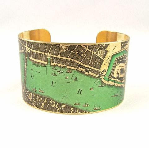 Elizabethan,London,Map,with,the,Tower,of,Cuff,Jewelry,Bracelet,england_london_uk,british_bracelet,elizabethan, tower of london, medieval history,london_england,steampunk_cuff,love_london,map_jewelry,vintage_map_london,river_thames,turquoise_blue,traveller_travel,railroads,roads_streets,queens_ju