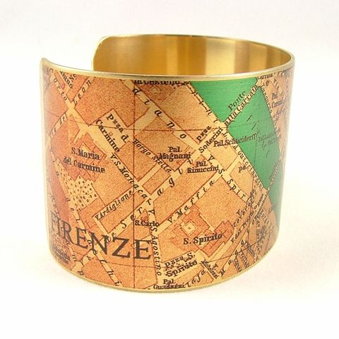 Vintage,Florence,Street,Map,Cuff,Jewelry,Bracelet,,steampunk_cuff,love_italy rome,map_jewelry,florence, firenze,vintage_map,river_arno,turquoise_blue,traveller_travel,railroads,roads_streets,street map rome, cartography,brass,handmade,decoupage,art,paper,vintag