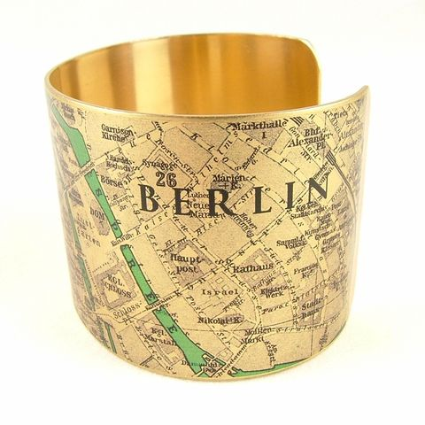 Vintage,Berlin,Street,Map,Cuff,Jewelry,Bracelet,,steampunk_cuff,map_jewelry,berlin germany, german,vintage_map,river_spree,turquoise_blue,traveller_travel,railroads,roads_streets,street map rome, cartography,brass,handmade,decoupage,art,paper,vintag
