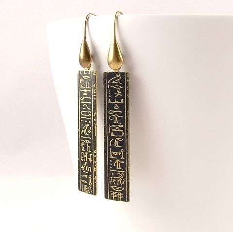 Ancient,Egyptian,Hieroglyphic,Earrings,egyptian earrings, long gold earrings, slim earrings, brass cuff, languages demotic, greek, hieroglyphs, egypt, egyptian, rosetta stone, history, script, words, text , black, gold, british museum