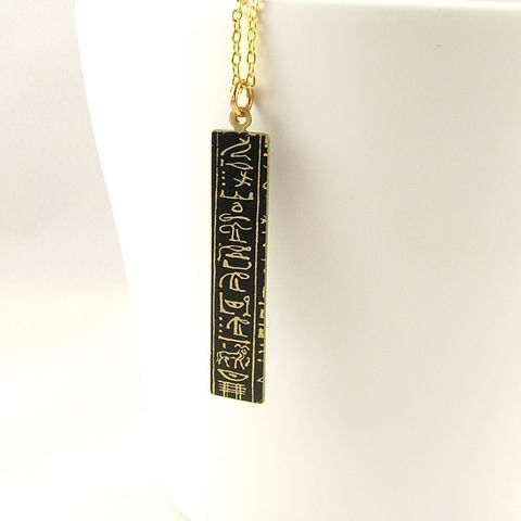 Ancient,Egyptian,Hieroglyphic,Tag,Necklace,egyptian necklace, long gold necklace, slim pendant, brass cuff, languages demotic, greek, hieroglyphs, egypt, egyptian, rosetta stone, history, script, words, text , black, gold, british museum
