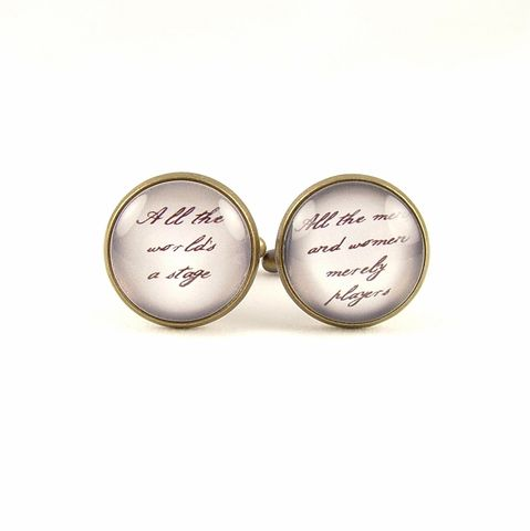 All,The,World's,A,Stage,Cuff,Links,Accessories,Cuff_Links,Geekery,cufflinks,cuff_links,cool_gifts_for_men,shakespeare,literary_gifts,english_literature,book_nerd,library_art,literary_quote,groomsman_cuff_links,theater_drama,acting_actor,old_england,brass,art,decoupage,handmade,paper,metal