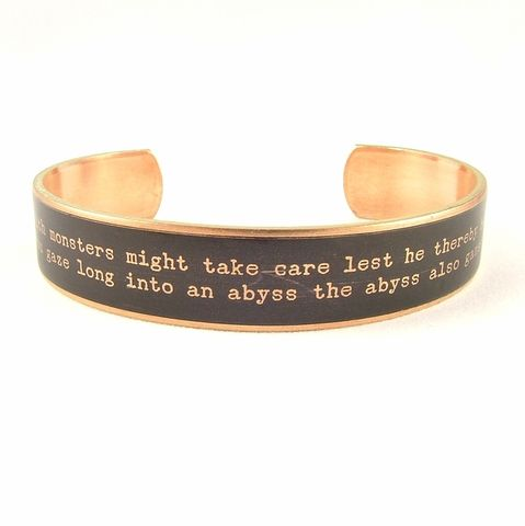 Existentialism,Friedrich,Nietzsche,Beyond,Good,and,Evil,Skinny,Cuff,Jewelry,Bracelet,literature,friedrich nietzsche, does not kill makes stronger quote, skinny bracelet, german jewelry,literary_quote_cuff,,jezebel_charms,brass,handmade,art,quote,words