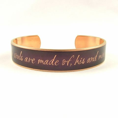 Whatever,Our,Souls,Wuthering,Heights,Skinny,Cuff,Jewelry,Bracelet,wuthering_heights,literary_bracelet,gifts_for_writers,romantic,cathy_and_heathcliff,emily_bronte,book_quote,jezebelcharms,custom_quote_jewelry,love_quote,purple,mulberry,literature,brass,art,decoupage,handmade,metal,cuff,paper,book,w