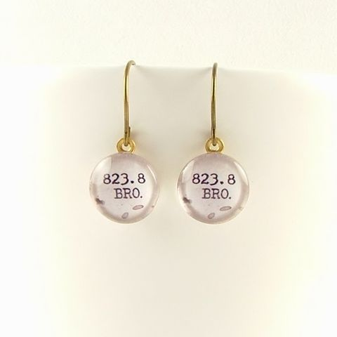 Dewey,Decimal,Earrings,823.8,Bronte,Jewelry,Bracelet,Cuff,wuthering_heights,literary_bracelet,gifts_for_writers,romantic,cathy_and_heathcliff,emily_bronte,book_quote,jezebelcharms,custom_quote_jewelry,love_quote,purple,mulberry,literature,brass,art,decoupage,handmade,metal,cuff,paper,book,w