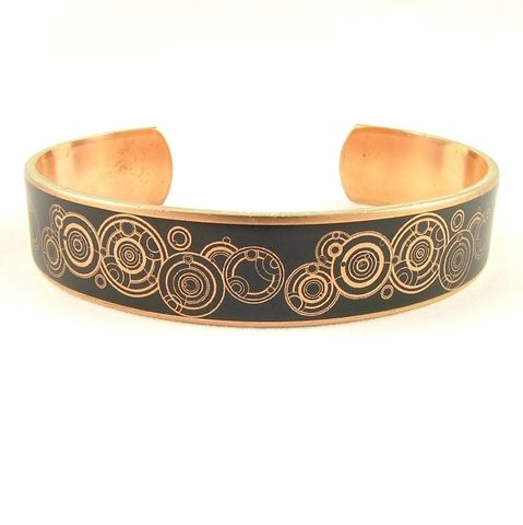 Steampunk,Gallifreyan,Doctor,Who,Skinny,Cuff,in,Black,dr who jewelry, bracelet cuff, brass art, matt smith, david tennant,  timelord, handmade, dr who, tardis, police box, science fiction, geeky, amy pond, dalek, brass decoupage