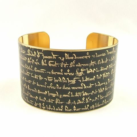 Magna,Carta,Historical,Cuff,brass cuff, languages demotic, greek, hieroglyphs, egypt, egyptian, rosetta stone, history, script, words, text , black, gold, british museum